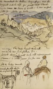 Album du Maroc: En haut, vue des remparts et de la ville de Tanger, la mer vers la gauche et fond by Eugene Delacroix