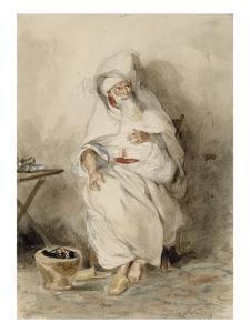 Arabe assis près d'un brasero ou Portrait d'Amin-Bias ministre  Finances et  Affaires Etrangères by Eugene Delacroix