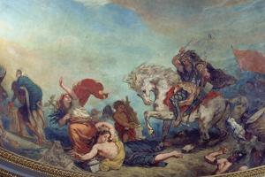 Attila the Hun, Followed by His Barbarian Hordes, Trampling Italy and the Arts Underfoot by Eugene Delacroix