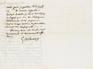 Autographe à Berryer, Champronay par draveil Seine et Oise Juillet 1855 by Eugene Delacroix