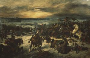 Bataille de Nancy, mort de Charles le Téméraire by Eugene Delacroix