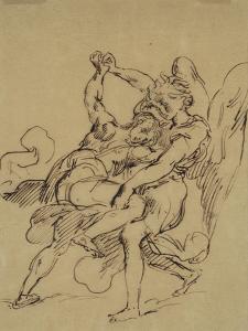 Combat de Jacob avec l'ange by Eugene Delacroix