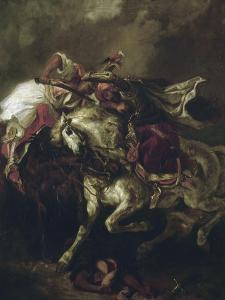 Combat du Giaour et du Pacha. by Eugene Delacroix