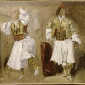 Deux études de costumes souliotes by Eugene Delacroix