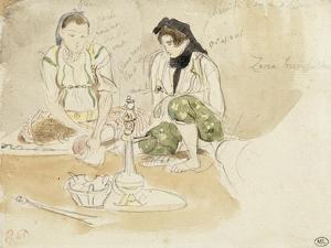 Deux Femmes arabes assises; Etude pour les Femmes d'Alger by Eugene Delacroix