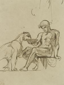 Ephèbe assis donnant à boire dans une coupe à une lionne ou Bacchus,étude pour les fresques de by Eugene Delacroix