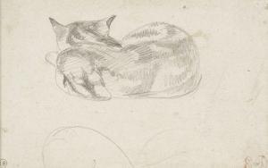 Etude de chat couché vu de dos by Eugene Delacroix