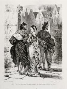 Faust de Goethe, livre ayant appartenu à Delacroix : Faust et Marguerite dans la ville, Mephisto à by Eugene Delacroix