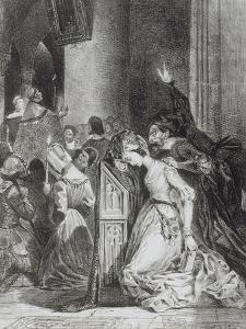 """""""Faust"""" de Goethe: Marguerite en prière à l'église avec Méphisto: """"Malheureuse...""""; 1828 by Eugene Delacroix"""