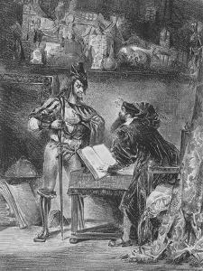 """""""Faust"""" de Goethe :Méphisto apparaissant à Faust dans son cabinet; 1828 by Eugene Delacroix"""