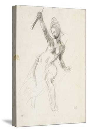 """Femme à demi-nue brandissant un bâton ; Etude pour la """"Liberté guidant le peuple"""" ; 1830"""