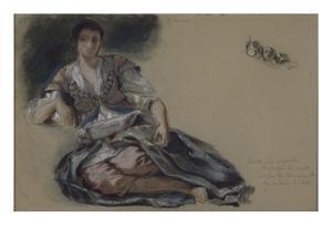 """Femme arabe assise à terre et études de boutons;Etude pour"""" Les Femmes d'Alger""""; vers 1833-1834 by Eugene Delacroix"""