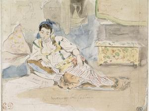 """Femme arabe assise sur des coussins ; Etude pour les """"Femmes d'Alger"""" by Eugene Delacroix"""