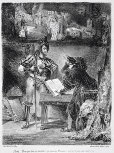 First Meeting Between Faust and Mephistopheles: 'Why All This Noise ', from Goethe's Faust, 1828 by Eugene Delacroix