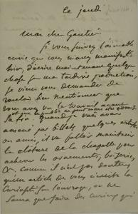 Holograph Letter to Theophile Gautier, August 4, 1861 by Eugene Delacroix