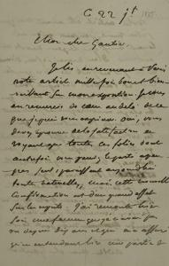 Holograph Letter to Theophile Gautier, July 22, 1855 by Eugene Delacroix