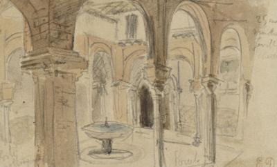 Inner Courtyard of the Monastery of Seville, May 1832 by Eugene Delacroix