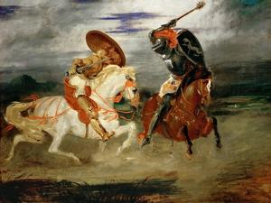 Knights Fighting in the Countryside by Eugene Delacroix
