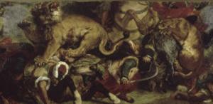 La Chasse aux lions by Eugene Delacroix