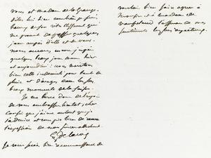 Lettre autographe signée à Berryer, Champrosay 14 Septembre 1862 by Eugene Delacroix