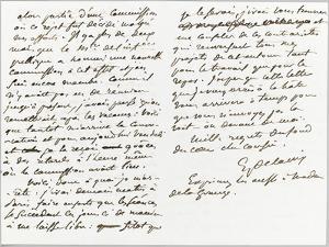 Lettre autographe signée à Berryer, Champrosay, vendredi soir Octobre 1861 by Eugene Delacroix