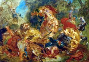 Lion Hunt by Eugene Delacroix