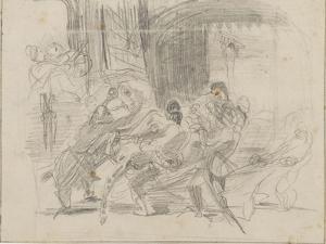 Mazeppa attaché sur la croupe d'un cheval sauvage by Eugene Delacroix