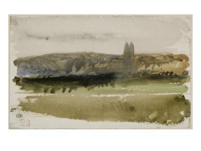 Paysage de plaine avec deux peupliers devant un côteau en Touraine; 1828
