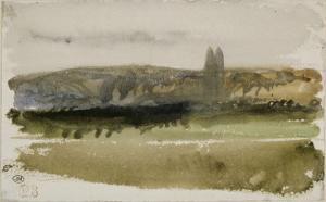 Paysage de plaine avec deux peupliers devant un côteau en Touraine; 1828 by Eugene Delacroix