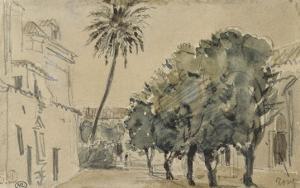 Place San Lorenzo à Séville by Eugene Delacroix