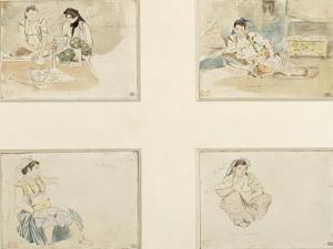 """Quatre dessins; études pour """"Les Femmes d'Alger"""" ; deux femmes arabes assises;femme arabe assise by Eugene Delacroix"""