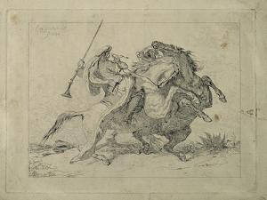Rencontre de cavaliers maures by Eugene Delacroix
