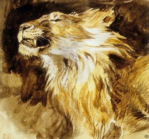 Roaring Lion, C.1833-35 by Eugene Delacroix