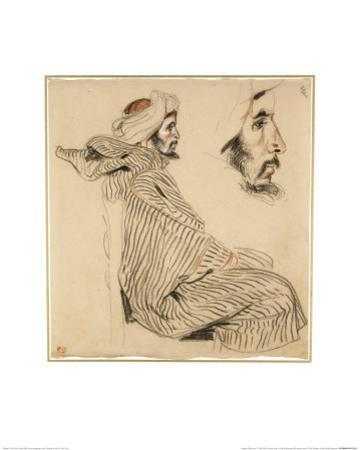 Seated Arab, a Chalk Drawing with Watercolour by Eugene Delacroix