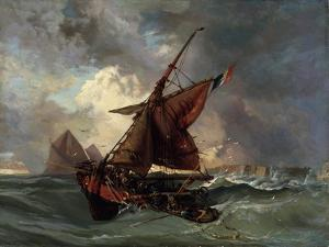 Ships in a Stormy Sea, 19th Century by Eugene Delacroix