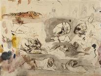 Sketches of Tigers and Men in 16th Century Costume, 1828-29-Eugene Delacroix-Framed Premier Image Canvas