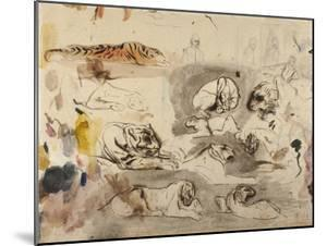 Sketches of Tigers and Men in 16th Century Costume, 1828-29 by Eugene Delacroix
