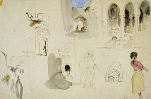 The Kasbah, Tangier (W/C on Paper) by Eugene Delacroix