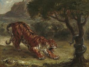 Tiger and Snake, 1862 by Eugene Delacroix