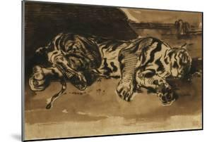 Tiger Lying Down; Tigre Couche, 1858 by Eugene Delacroix