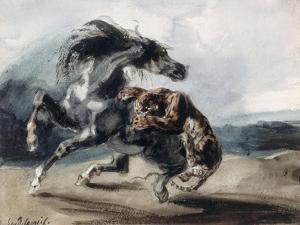 Tigre attaquant un cheval sauvage by Eugene Delacroix