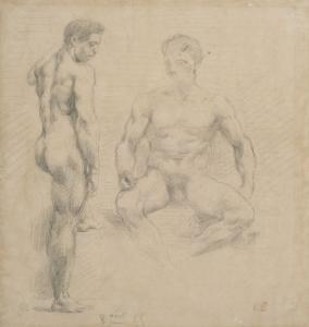 Two Studies of Nude Men One Standing, Another Sitting by Eugene Delacroix