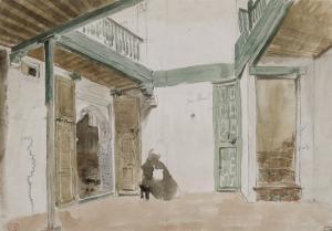 Une cour à Tanger ; 1832 by Eugene Delacroix