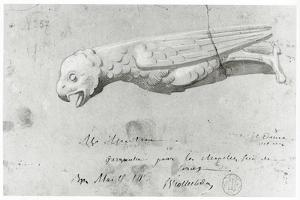 Drawing for the Restoration of the Gargoyles of Notre Dame, 1855 by Eugene Emmanuel Viollet-le-Duc