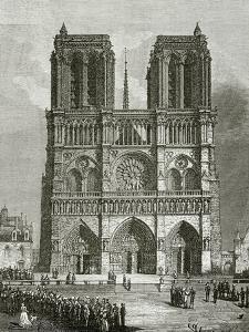 Notre Dame De Paris En 1642 - Illustration from Notre Dame De Paris, 19th Century by Eugene Emmanuel Viollet-le-Duc