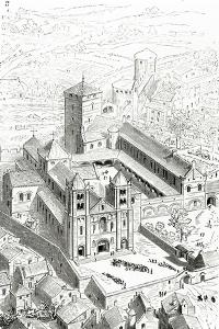 View of the Abbey of Cluny and the Carolingian Cathedral by Eugene Emmanuel Viollet-le-Duc