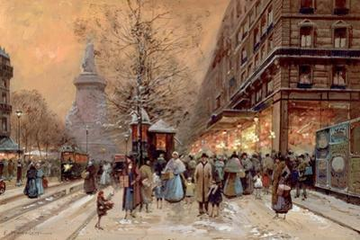 A Busy Boulevard Near the Place de La Republique, Paris by Eugene Galien-Laloue