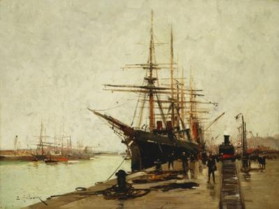 A Harbour by Eugene Galien-Laloue