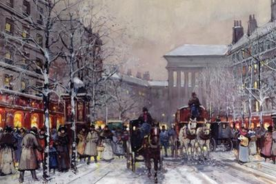 A Parisian Winter Scene by Eugene Galien-Laloue