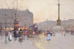 Figures in the Place De La Bastille by Eugene Galien-Laloue